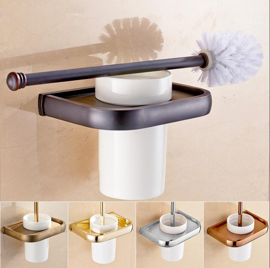Gold/Chrome/Antique Bronze Brass Toilet Cleaning Brush Portable Toilet Brush Holder Scrubber Curved Clean Side Corner Brush batwing sleeve pocket side curved hem textured dress