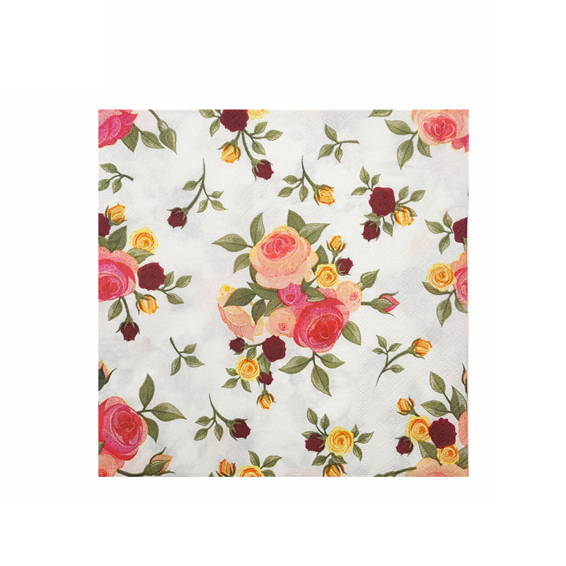 New Flower Pattern Colored Printed Napkins Double Square Tissue Valentine's Day Wedding Dinner Table Disposable Paper Towels