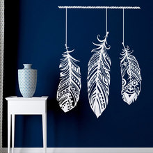 Feather wall decal sticker tribal wall art bohemian decorative living room bedroom dormitory feather chaser wall art mural ZM04