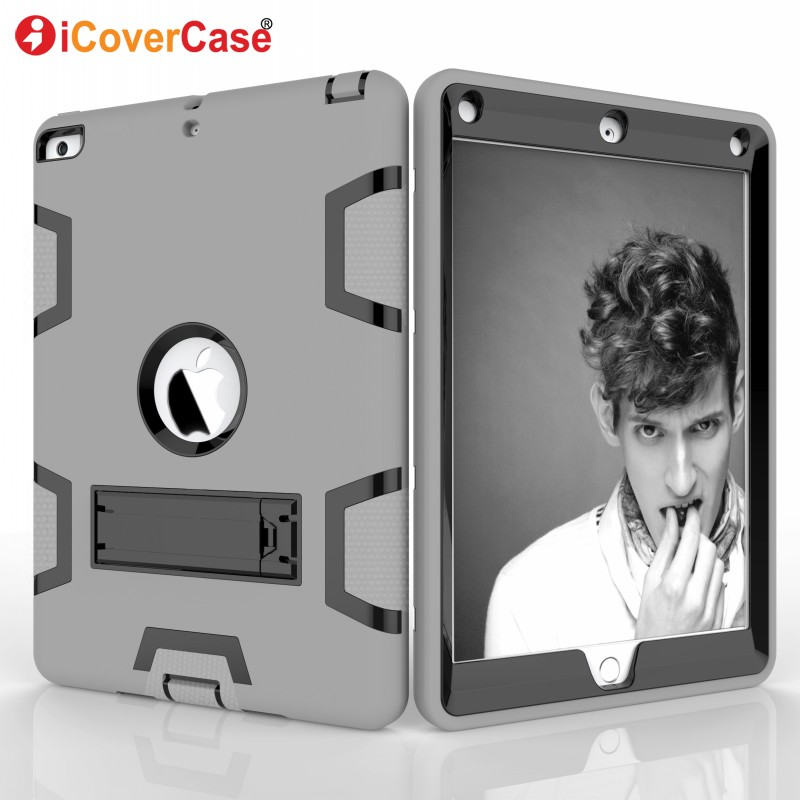 Protector Case For Apple iPad 9.7 Inch 2017 Pad Cases Tablet Accessories Full Body Heavy Armor Defender Stand Holder Cover
