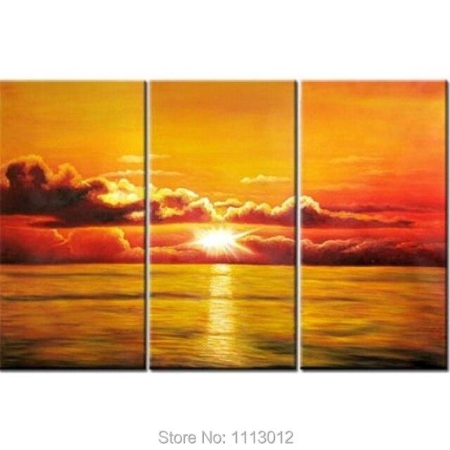100% Hand Painted 3 Piece Sets Wall Art Yellow Sea Sun Waves Blue ...