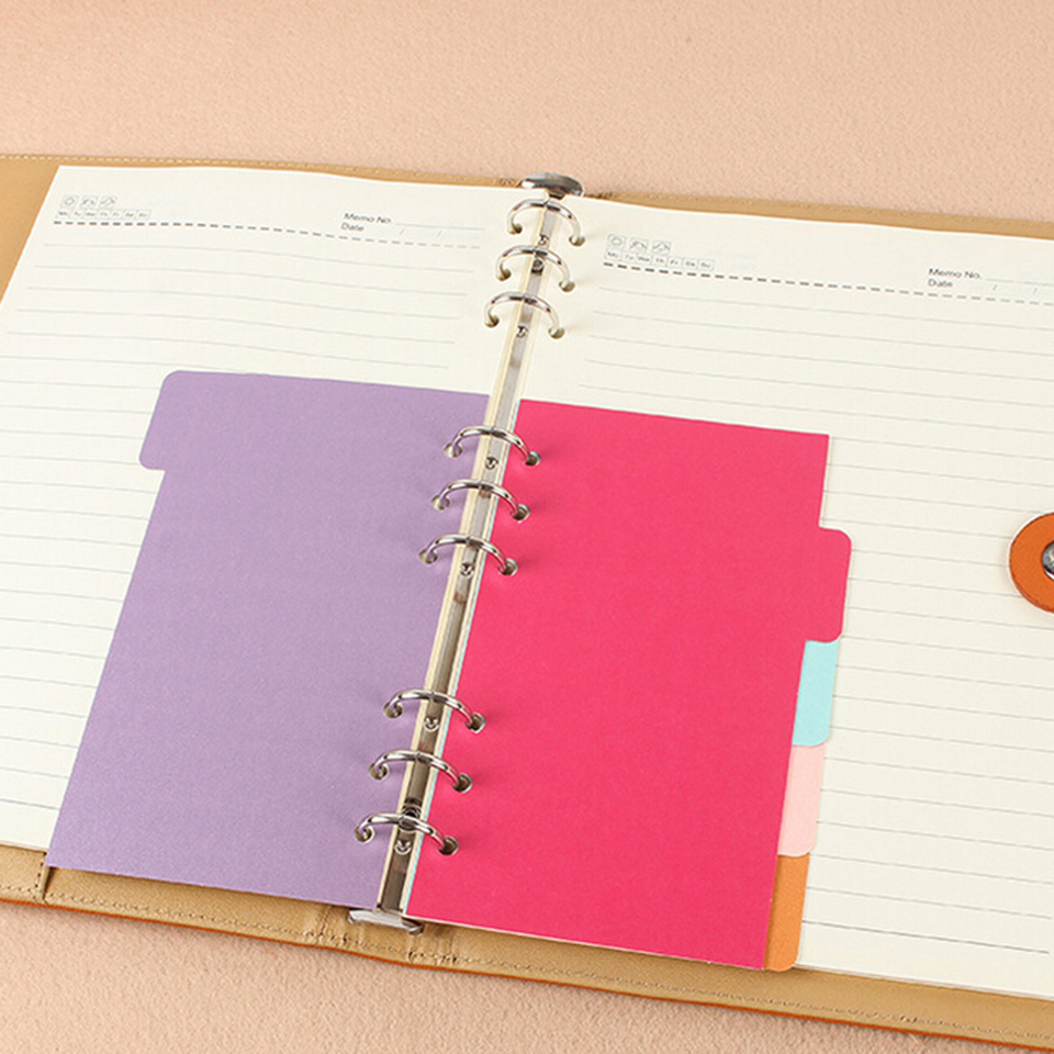 5 Sheets Binder Index Dividers A5 A6 Inner Page Organizer Notebook