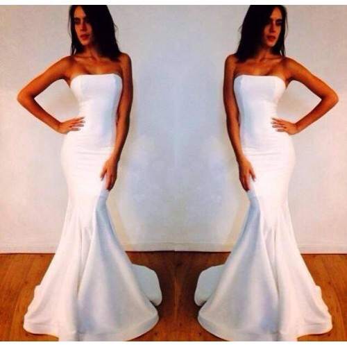 Simple Long White Formal Dresses