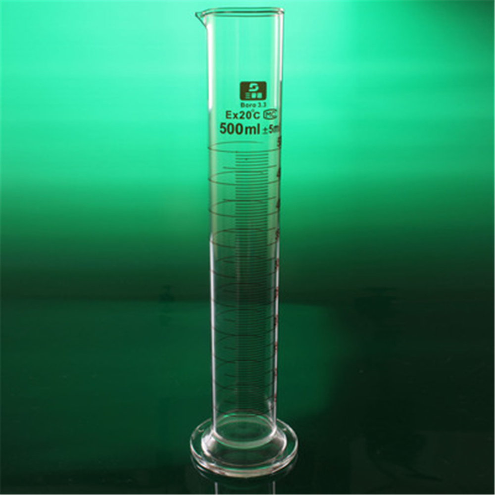 High quality Laboratory 500ml Measuring cylinder with Scale High borosilicate 3.3 Glass Measuring Cup Lab Supplies high quality laboratory 2000ml measuring cylinder with scale taper glass measuring cup lab supplies