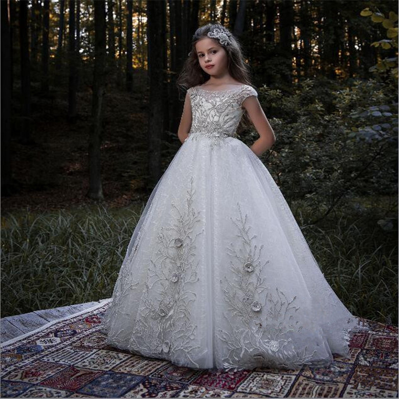 Luxury And High Quality  Flower Girl Dress Beaded 3D Appliques Sweep Train Well Designed Pageant Gowns Prom Dress Evening Dress