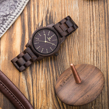 UWOOD Wood Quartz Wristwatches Man Minimalist Retro Raw Sand