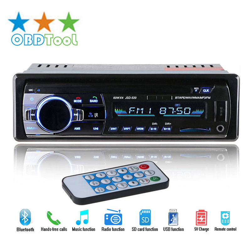 New FM Car Radio 12V Bluetooth Auto Audio Stereo SD MP3 Player Support AUX USB Hands-free Call Car Electronics JC20 rs 1010bt car bluetooth hands free stereo mp3 player