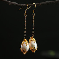 silver natural hollow out fashionable woman flavour of manual baroque pearl earrings ears hang accessories wholesale