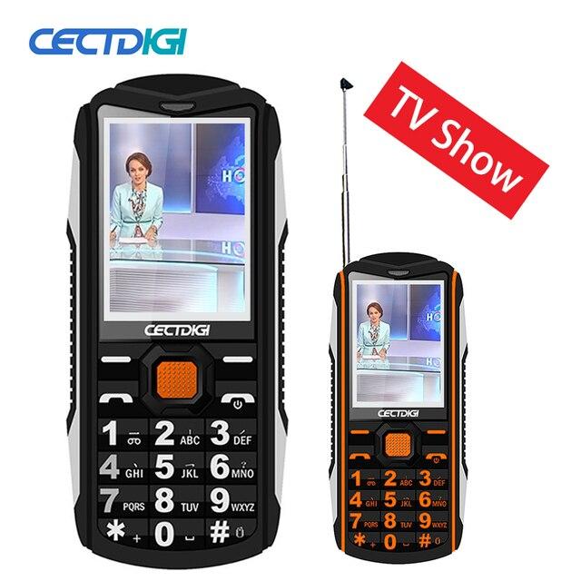 Antenna TV Phone Cectdigi TV200 Dual Sim Rugged Phone Power Bank Dual torch Flashlight Outdoor Russian Keyboard Mobile Phone