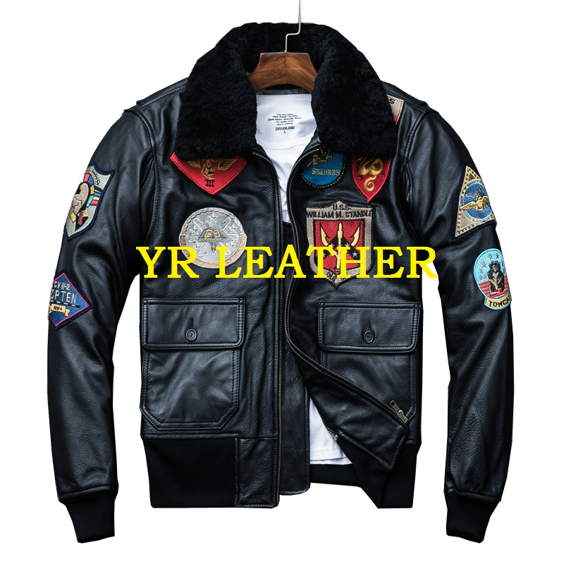 YR!Free shipping.quality.mens plus size genuine leather jacket,winter classic A2 cowhide coat.flight bomber leather jackets