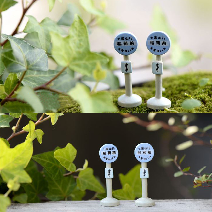 1Piece Bus Stop Sign 4.5CM Japanese Style Miniatures Micro Landscape Model Table Pots Mini Ornaments Garden Decor Crafts P10