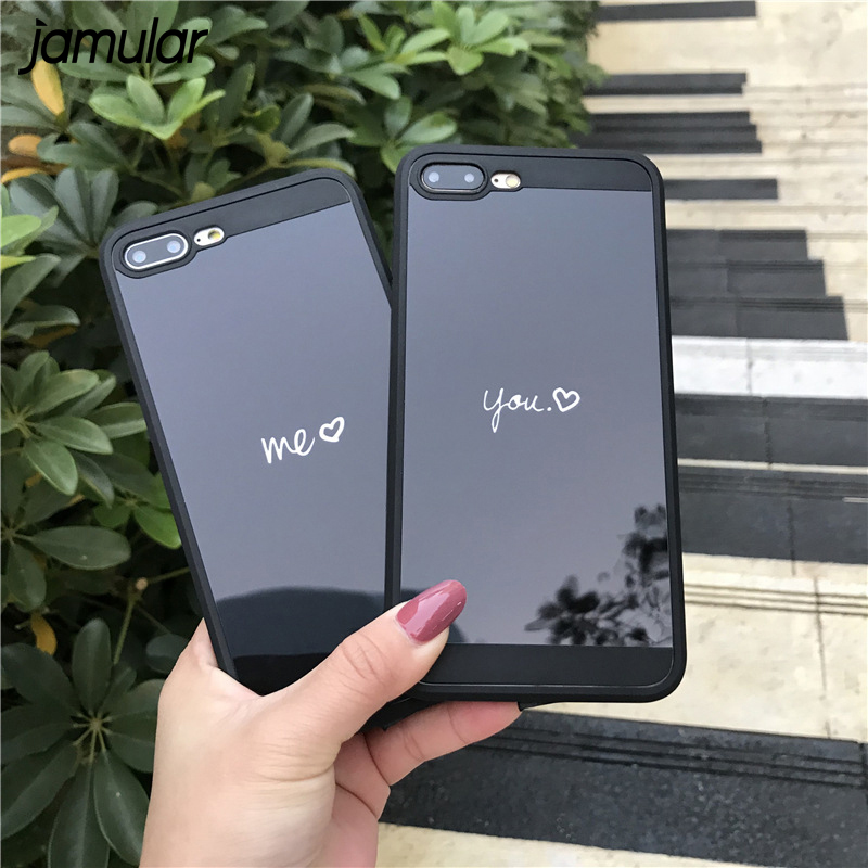 JAMULAR Black Color Mirror Phone Case For iphone 7 8 6 Plus Soft Silicone