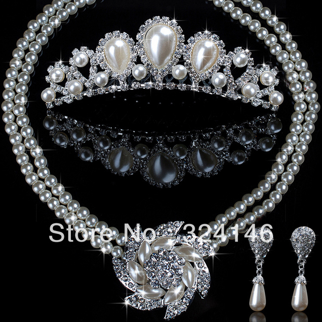 2016 New Arrival Classic Water drop Pearl bridal jewelry sets Crystal Flower Necklace set for women Wedding jewelry set