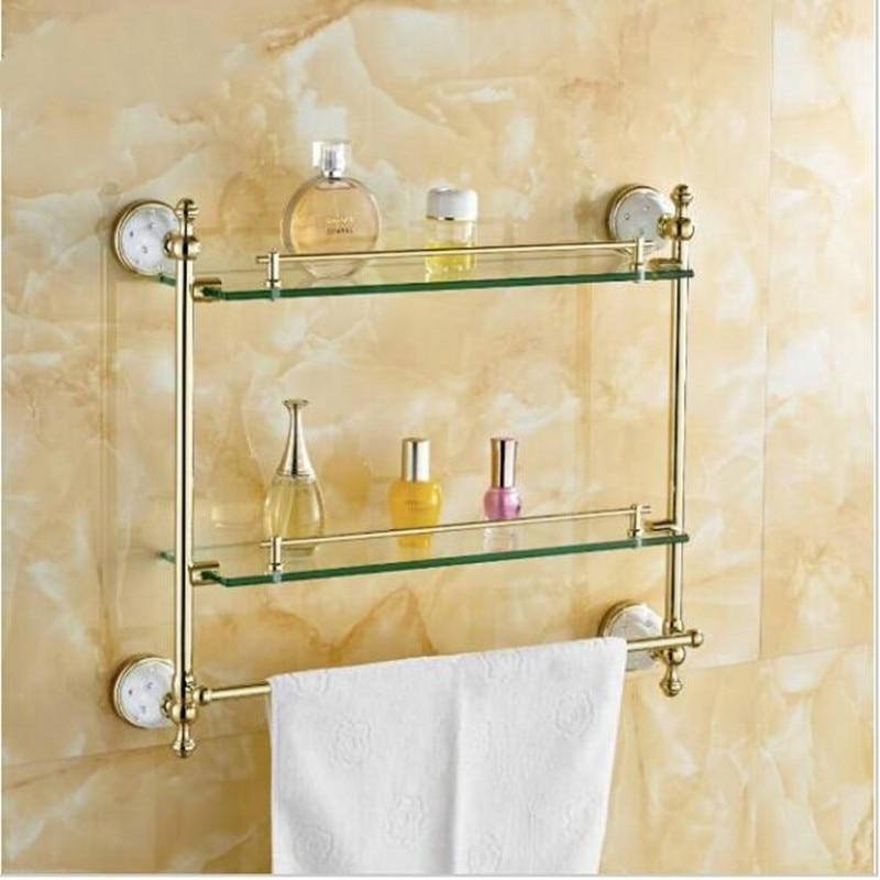 Tempered Glass Double Glass Bathroom Shelf Wall Mount ...