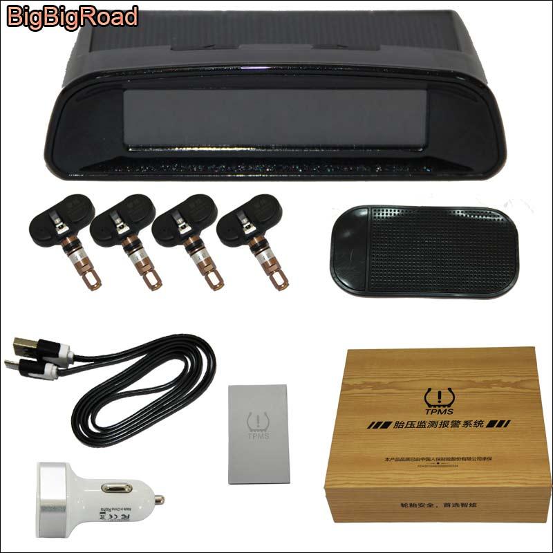 BigBigRoad Solar Power Car TPMS Tire Pressure Monitor System 4 Internal Sensors Wireless LCD Display For kia rio ceed sportage стоимость