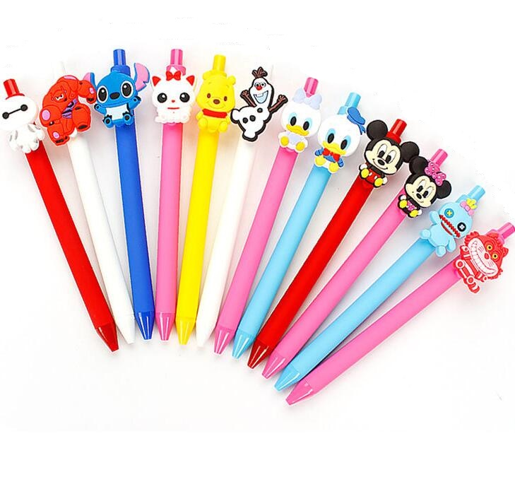 36pcs lot creative cartoon STITCH Duck BEAR Cat mouse black ink frosted gel pen promotion gift
