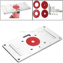 For universal RT0700C Multifunctional Aluminum Router Table Plate w/ 4 Router Insert Rings Screws for Woodworking Benches