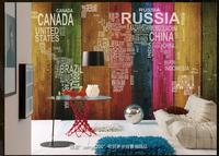 Customized 3d Photo Wallpaper 3d Wall Murals Wallpaper Alphabetic World Map Color TV Setting Wall Board