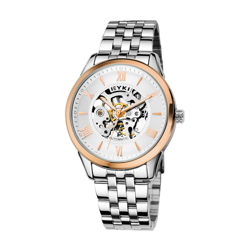 ФОТО EYKI 2017 Top Selling Men Watches Brand Roman Leisure Business Male Watch Mechanical Watch Back Through The Hollow Retro