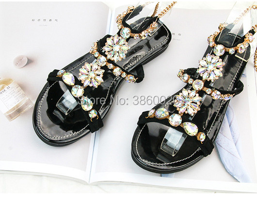 92b2a292f 2018 Vinapobo Brand Sandals Women Rhinestone Summer Shoes Flat Slip On Shoes  Woman Waterproof Party Women s Shoes Wedding Shoes