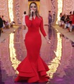 Simple Long Sleeves Red Mermaid Evening Dresses 2017 Ruffles Saudi Arabia Muslim Style Customize Long Party Dress Formal Gowns