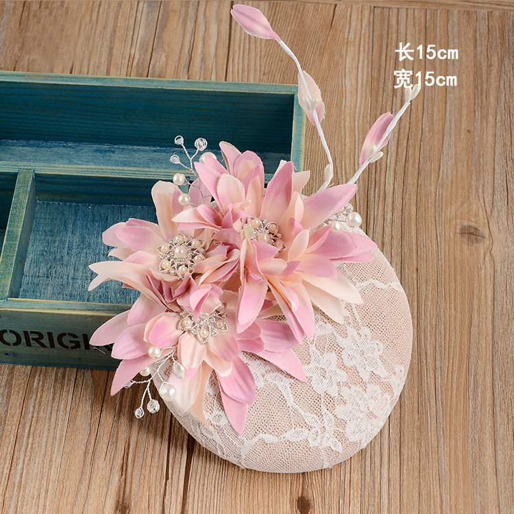 England Vintage Style Bride Lace Hat Sinamay Rhinestone Flower Fascinator Hair Clip Headdress For Women Dinner Party Hat Hairpin