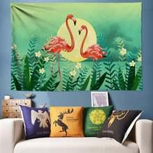 Гобелен с изображением фламинго кактуса настенный гобелен тропическими
