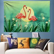 Flamingo Tapestry Cactus Wall Hanging Tropical Plants Decoration Bohemia Mandala Hippie Nordic Home Decor