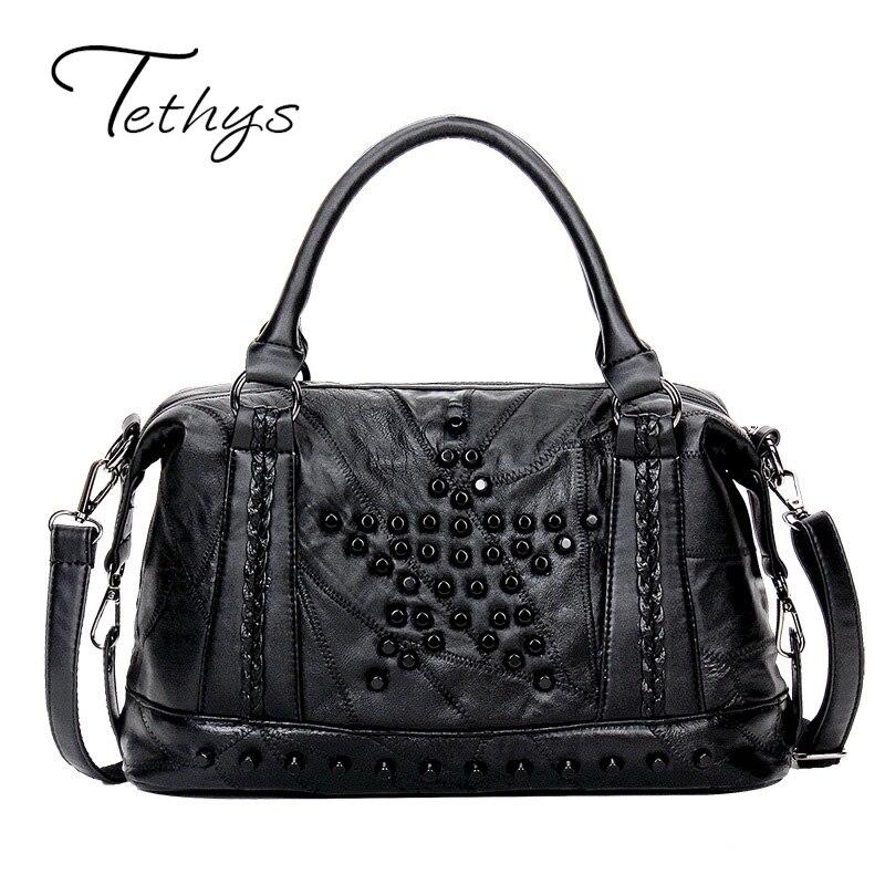 ФОТО  TEHTHYS Brand 2017 NEW Arrive Fashion Casual Tote Genuine Leather Female Bags Crossbody Bag Cool Rivet Handbags Patchwork Bags