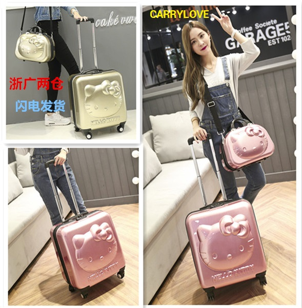 CARRYLOVE Hellokitty luggage series18/ 20/24inch PC Handbag and  Rolling Luggage Spinner brand Travel SuitcaseCARRYLOVE Hellokitty luggage series18/ 20/24inch PC Handbag and  Rolling Luggage Spinner brand Travel Suitcase