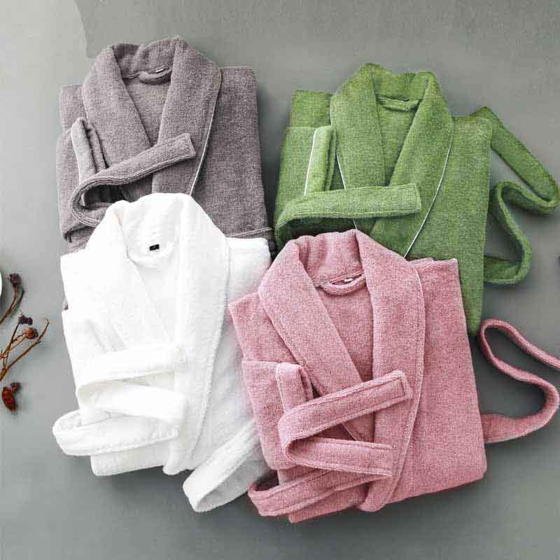 Men s Winter Cotton Terry Bathrobe Warm Soft Hooded Toweled Bath Robe Male Grey White Kimono