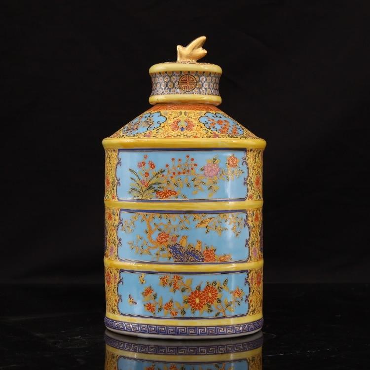 Jingdezhen Antique Émail Vase Qing Yong Zheng Thé Doré Antique Porcelaine Antique Porcelaine Collection