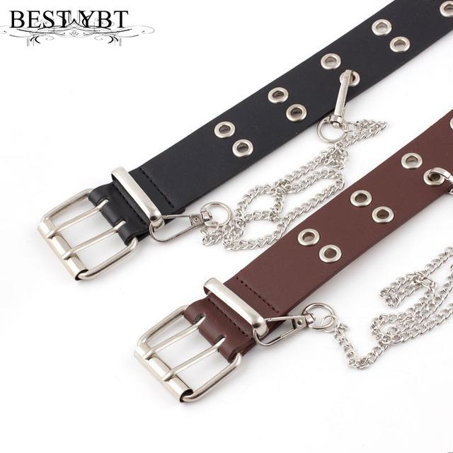Best Women Belt Imitation Leather Pin Buckle Belt New Punk Wind Jeans Fashion Individual Decorative Belt Chain Women Belt