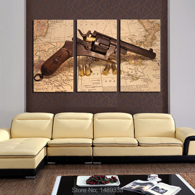 3 panel Abstract Map With Gun Modern Home Wall Decor Painting canvas ...