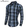 Nova Moda 2016 Primavera Outono Mens Camisas Xadrez de Manga Longa Homens Slim Fit Casual Camisa Camisa Masculina Social 13M0484