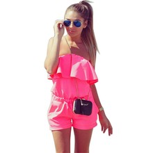 Ruffles Strapless Waist Tightening Candy Color  Dress