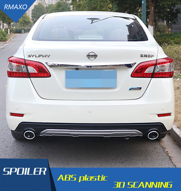 For Sentra Rear spoiler ABS Rear Bumper Diffuser Bumpers Protector For Nissan Sentra After chrome lip