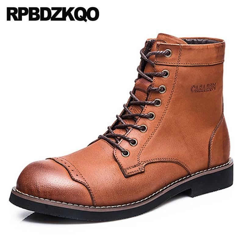 Cordones De Botas La Ejército Militar Marrón Combate Zapatos Brogue Grano  Completo Hombres khaki Del Genuino ... d68c01a5d23