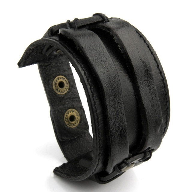 BAMOER Leather Cuff Double...