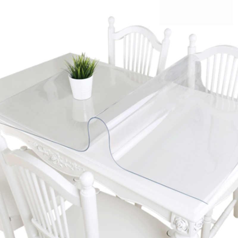 Mantel transparente de PVC HAZY de 1,5mm, mantel de mesa rectangular resistente al agua, manteles de mesa a prueba de aceite, paño de cristal suave para Decoración de cocina