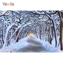 Yeele Merry Christmas Party Winter Tree Snow Road Scene Baby Photo Background Custom Vinyl Photography Backdrop For Studio