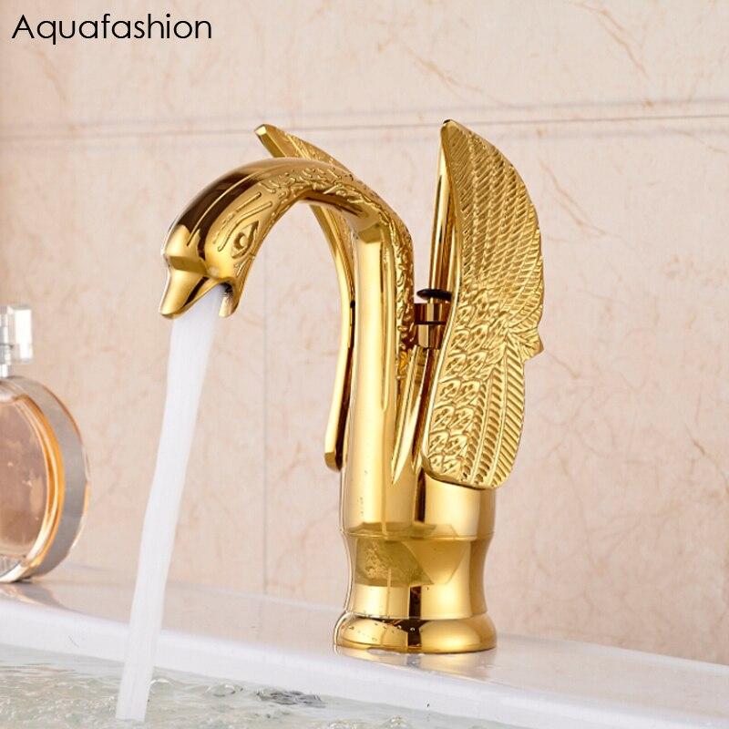 Robinet de cygne de Style Vintage robinet de lavabo plaqué or robinet de luxe en cuivre or mélangeur robinets chauds et froids livraison gratuite