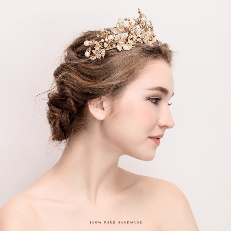 Aliexpress Buy Dower Me Baroque Gold Butterfly Crown Wedding