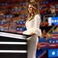 Moda Melania Trump Celebrity Dress O Cuello Longitud de La Rodilla Blanco Vestidos Formales