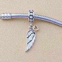 925 Sterling Silver ANGEL WING SILVER DANGLE WITH 14K HEART Fit Pandora Bracelet