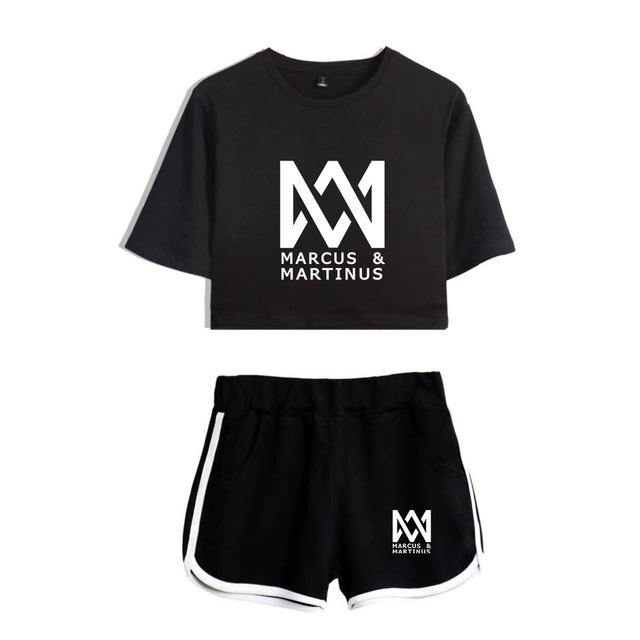 aa017918883 Marcus and Martinus print summer tracksuit two piece set cotton short  sleeve t shirt woman suit shorts crop fashion tops+shorts