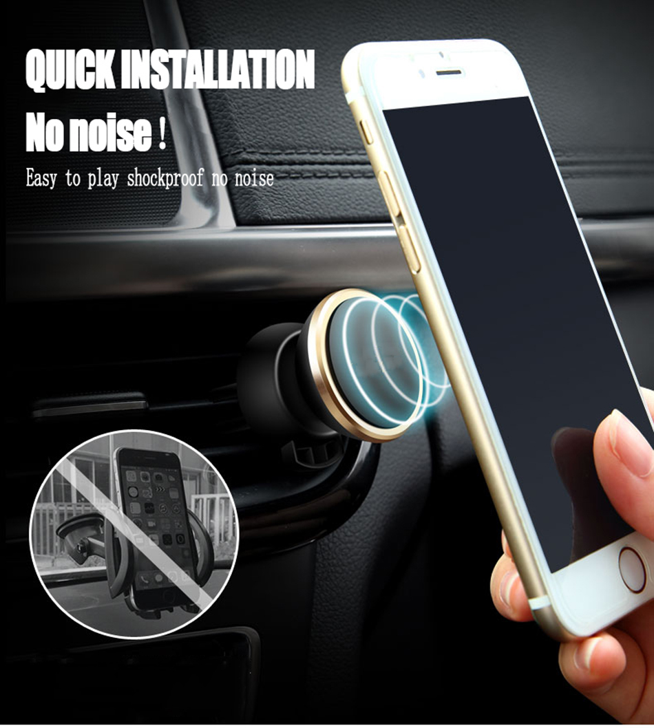 500PCS/Lot Free Shipping Universal Phone Holder Stand 360 Degree Rotate Magnetic Car Air vent Mount Holder Mobile Phone Bracket