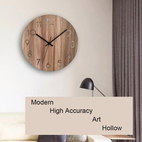 12 Vintage Arabic Numeral Design Rustic Country Tuscan Style Wooden Decorative Round Wall Clock