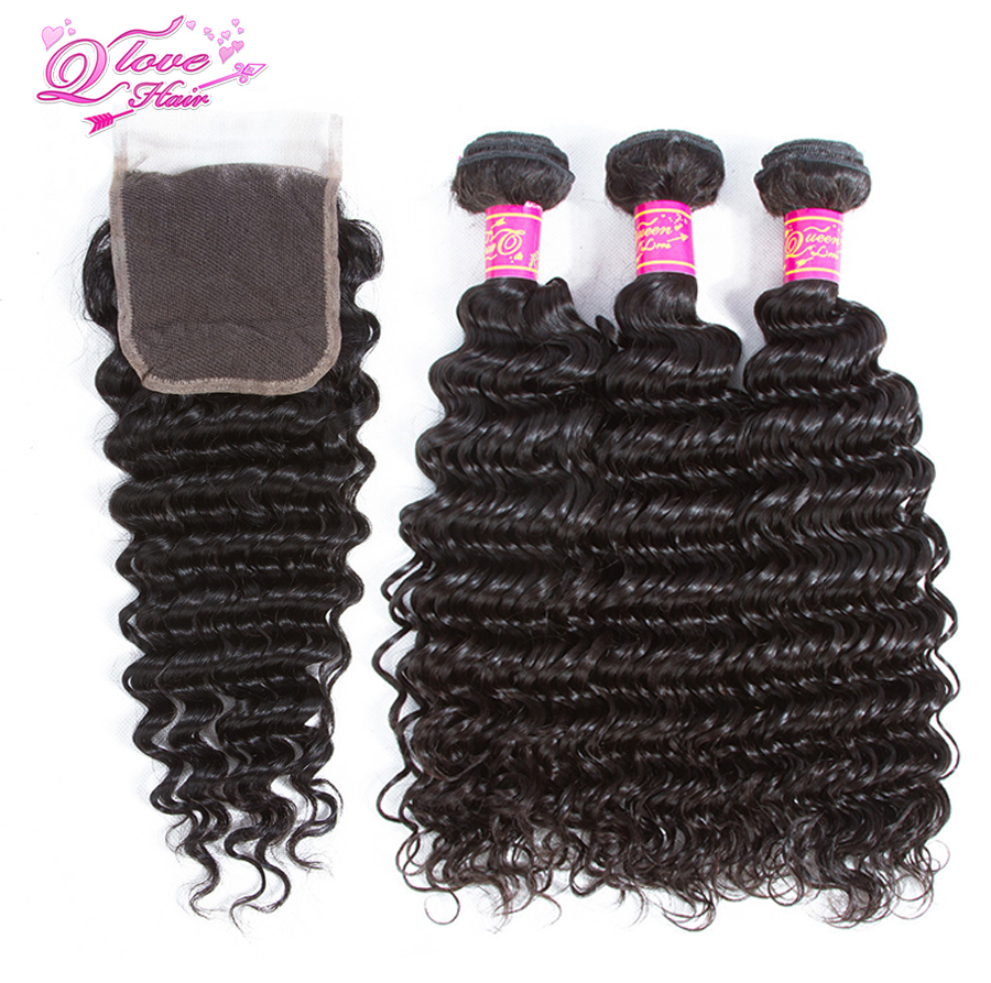 Queen Love Hair Peruvian Deep Wave 100% Human Hair Bundles With Closure 3 Bundles Hair Extensions Remy Natural Color