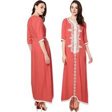 Muslim women Long sleeve kaftan elegant embroidery ethnic vintage (4 colors)